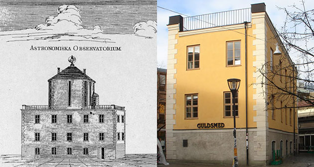 The Celsius building in Uppsala during Celsius' time and now