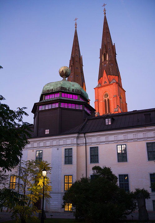 Two famous buildings in Uppsala, museum Gustavianum and the big cathedral