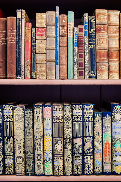 Decorative image: old books in a book shelf