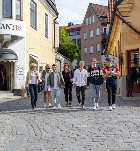 Students walking around in Visby